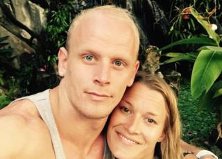 Owain Jones and partner Leanne Sylvester - they look to appear to be on holiday somewhere tropical together