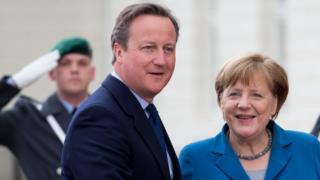 PM David Cameron with Chancellor Merkel, Germany, 25 Apr 16