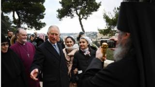 Prince Charles arrives at the Church of Mary Magdalene, where his grandmother is buried