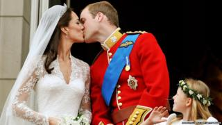 The Duchess and Duke of Cambridge kiss on their wedding day