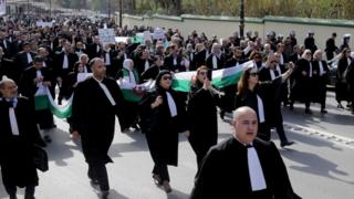 Lawyers protest against President Bouteflika's bid for a fifth term in office