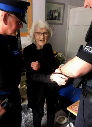 Josie Birds being arrested