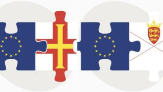 The EU, Guernsey and Jersey flags