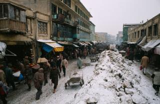 Kabul market in wintertime. 13 February, 1989