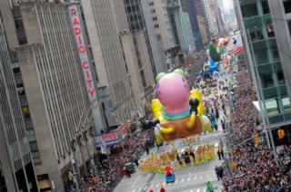 The Spongebob SquarePants balloon at the Macy's Thanksgiving Day Parade