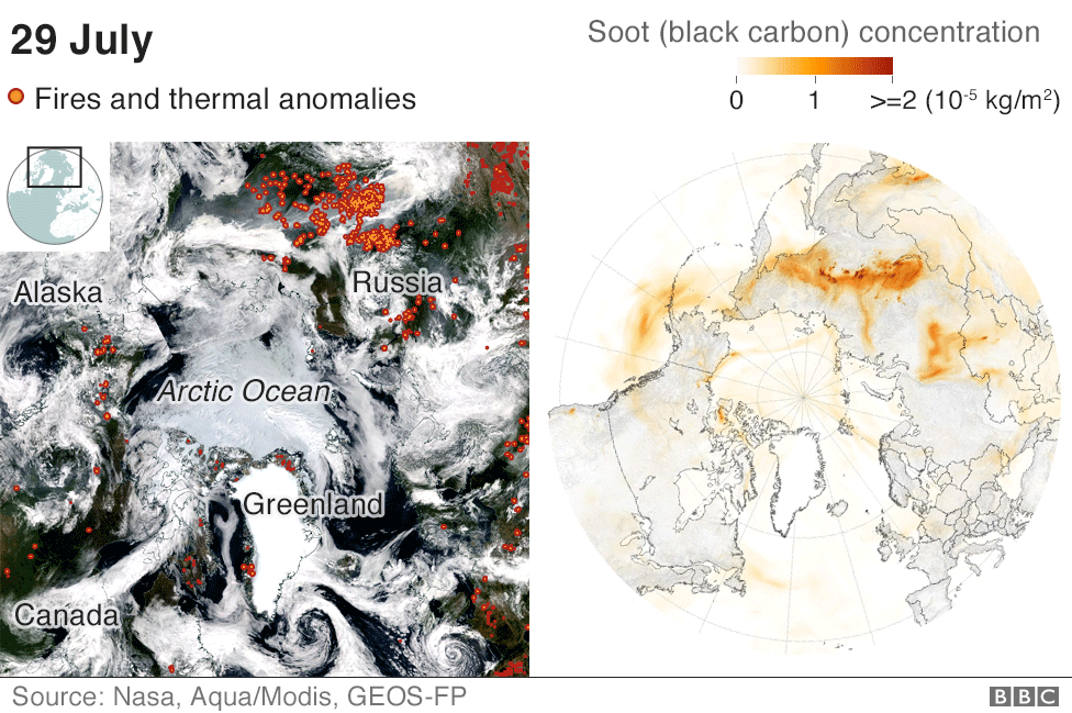 Maps showing soot from the fires travelling across the Arctic