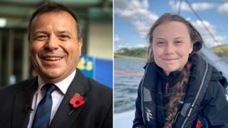 Arron Banks and Greta Thunberg