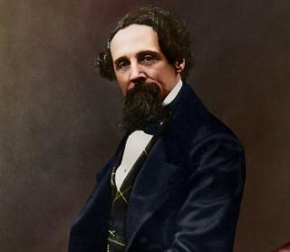 in_pictures Charles Dickens colourised portrait