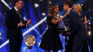 2015 SPOTY winner Andy Murray with Kevin Sinfield and Jessica Ennis-Hill