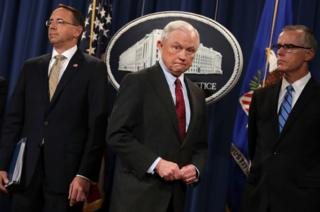 From left: Mr Rosenstein, Attorney General Jeff Sessions, and Mr McCabe