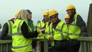 Engineers visiting the bridge