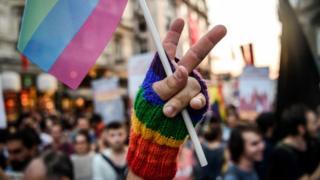 LGBT yürüyüşünde zafer işareti yapan bir el gökkuşağı renklerinden bir bayrak tutuyor.