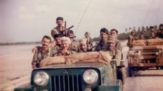 Sheonan Singh with his men in northern Sri Lanka 30 years ago