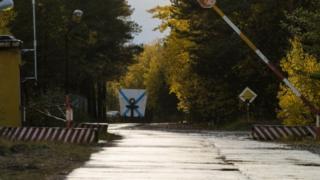 Un puesto de control militar cerca del pueblo de Nyonoksa, en la región de Arkhangelsk