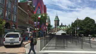 Barriers are set up near Parliament Hill in Ottawa on June 28, 2017, as Canadian prepare to celebrate the 150th anniversary of confederation.