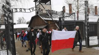 Ultranationalists march in Auschwitz, January 27, 1919