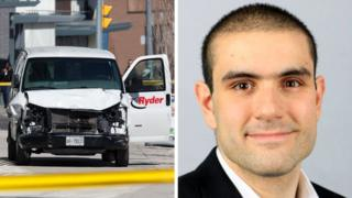 Van suspected of being involved in attack in Toronto and the attack suspect Alek Minassian, 24 April 2018, from his LinkedIn profile