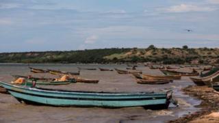 Des pirogues accostés sur le rivage, dans le lac Albert en Ouganda (illustration).