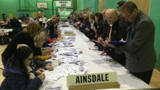 ballot papers being counted in Sefton