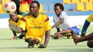 Physically challenged Ghanaians compete in the International Federation of Skate Soccer (IFSS) tournament in Accra, Ghana 20 January 2018.