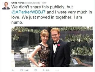 "Tweet from Alison Parker's apparent boyfriend, Chris Hurst, which reads: ""We didn't share this publicly, but @AParkerWDBJ7 and I were very much in love. We just moved in together. I am numb"""
