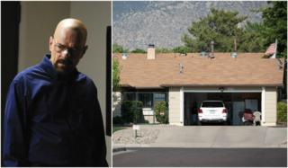 Collage of pic of Walter White character and the New Mexico house where its filmed