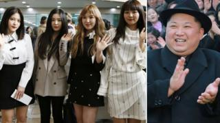 South Korean girl group Red Velvet head to North Korea on 31 March, left, and North Korean leader Kim Jong-un, right