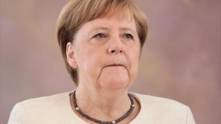 La canciller de Alemania, Angela Merkel, en el Palacio Bellevue de Berlín el 27 de junio de 2019.