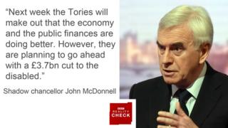 "John McDonnell saying: ""Next week the Tories will make out that the economy and the public finances are doing better. However, they are planning to go ahead with a £3.7bn cut to the disabled."""