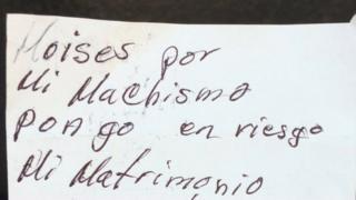 Fragmento de la nota escrita por Moisés