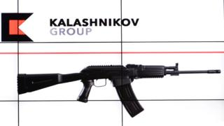 Kalashnikov assault rifle and firm's logo - file pic