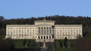 A wide shot of parliament buildings at Stormont, the home of the Northern Ireland Assembly.