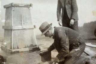 Setting a trig pillar
