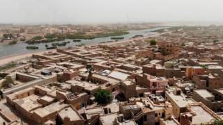 Vue aérienne de la ville de Mopti au centre du Mali
