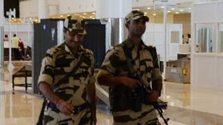 Armed Central Industrial Security Force (CISF) patrol at a new international arrival terminal, developed under an airport modernisation programme in Chennai on 28 September 2018