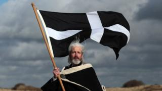 Colin Retallick plays the role of St Piran during the annual processional play to celebrate St Piran in 2012