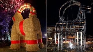 Before and after photos of the Gavlebocken, Sweden's Christmas goat
