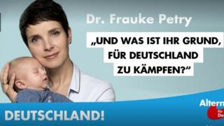 In July the AfD released this campaign poster featuring Frauke Petry and her new-born baby