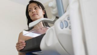 Patient having test called a mammography