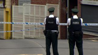 The scene of the security alert in Lisburn