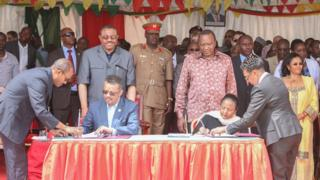 Kenya's Foreign Affairs Cabinet Secretary Amina Mohamed and Ethiopia's Minister of Foreign Affairs Tedros Adhanom Ghebreyesus sign the cross-border agreement