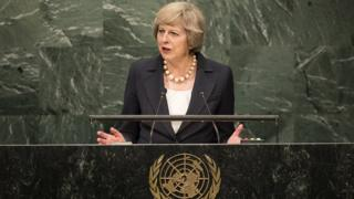 Theresa May addresses the UN General Assembly in New York City