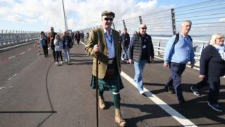 Competition-winners at the Queensferry Crossing during a one-off opportunity to walk across the new bridge
