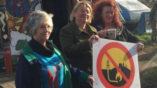 Natalie Bennett at anti-fracking camp