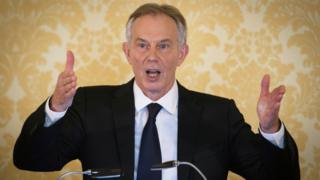 Tony Blair speaking at a press conference after the Chilcot report publication