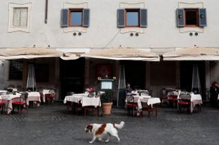 A dog walks past a restaurant that has a lot of empty tables