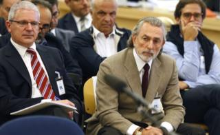 """Francisco Correa (R), alleged ringleader of the """"Gurtel"""" corruption case, attends the first day of the trial in the Gurtel political corruption scandal at the National Court of San Fernando de Henares, in Madrid, Spain, 4 October"""