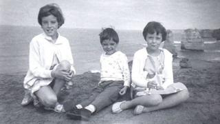 The three Beaumont children pictured on a holiday to Victoria, Australia