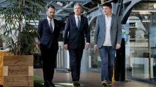 Chancellor of the Exchequer Philip Hammond (centre) meeting Gerry Mallon, CEO of Ulster Bank (left) and Patrick Walsh, MD of Dogpatch Labs during a visit to the Dogpatch Labs co-working space in Dublin.