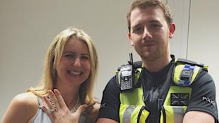 Alex McLoughlin with her rings and PC Rob Kelly